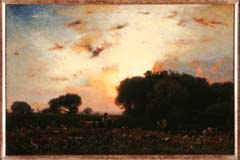 George Inness. A Sunset (c. 1879). Oil on canvas, 16 ¼ x 24 inches. Purchased with funds donated by the Enid and Crosby Kemper Foundation. George Inness, born and raised in the New York City area, was one of the major landscape artists of the nineteenth century. In contrast to many artists of the period who focused on American scenes and styles, Inness was heavily influenced by European old masters. This painting also shows the influence of the Barbizon School working in France at mid-century. The loose brushstrokes and color palette are characteristic of this influence. This painting also reflects Inness's growing religious devotion to the connections between nature and the spiritual world.