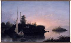 Fitz Henry Lane. Christmas Cove, Maine, 1858. Oil on canvas, 19 x 26 ½ in. (48.3 x 67.3 cm). Signed and dated lower right: F.H. Lane. 1858. Purchased with funds donated by the Enid and Crosby Kemper Foundation. Fitz Henry Lane (long known as Fitz Hugh Lane) was an American Hudson River School Painter. In paintings such as this one, Lane revealed a lifelong fascination with tranquil nature. Lane was born in Gloucester, Massachusetts. Lane lost the full use of his legs while still an infant, when it is believed he contracted polio. He was forced to walk with crutches for the rest of his life. Due in part to this disability, Lane spent the majority of his youth in Gloucester observing and recording in countless sketches the sea and the miles of shoreline he would come to know well. Although well-respected during his lifetime, Lane faded into obscurity soon after his death in 1865. It is only within the last quarter century that he has earned the reputation of our first native maritime painter of real stature.