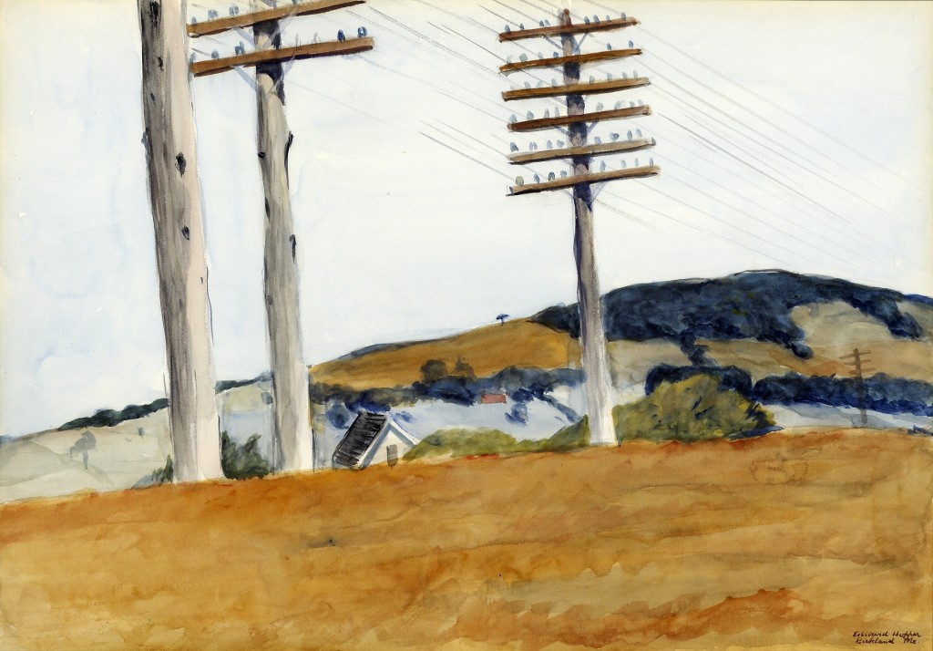 Edward Hopper (American, 1882-1967). Civil War Campground, 1926. Watercolor on paper. Purchased with funds donated by the Enid and Crosby Kemper Foundation. Edward Hopper was born in Nyack, New York, and by 1899 had already decided to become and artist. He studied under both William Merritt Chase and Robert Henri, one of the fathers of American Realism. In October 1906 he traveled to Paris and also visited London, Berlin, Amsterdam, and Brussels. This influence remained with him for a long time. Hopper's career was slow to take off and by the age of thirty-seven was still a commercial illustrator. By 1929 Hopper had become extremely well known, and his painting Early Sunday Morning was the Whitney Museum's most expensive purchase up to that time. Hopper's paintings combine apparently incompatible qualities- modern bleakness and simplicity, yet are full of nostalgia. His true importance has only been realized in the years since his death.