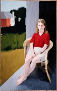 Fairfield Porter. Portrait of a Girl (1964-65). Oil on canvas, 72 ¼ x 45 inches. Purchased with funds donated by the Enid and Crosby Kemper Foundation. Fairfield Porter was an active member of the New York art scene in the mid-20th century, during a period best-known abstract and nonrepresentational art. Porter created images of his family, friends, and surroundings using a loose brushstrokes and carefully constructed settings influenced by French painters of the early part of the century. The subject of this painting, Porter's daughter Katherine is seated in chair that is starkly divided from the exterior world. The attention to architecture in many of Porter's paintings reflects the influence of his architect father.