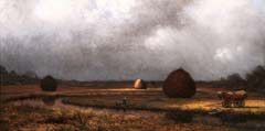 Martin Johnson Heade. Field with Haystacks—Gray Sky (1874). Oil on canvas, 14 1/8 x 28 inches. Purchased with funds donated by the Enid and Crosby Kemper Foundation. This image of a New Jersey salt marsh hayfield is an example of a Luminist landscape. The quiet scene focuses on the effects of light, especially as it reflects off water. Scenes such as this provide a contrast with the work of Heade's contemporaries such as Fredrick Edwin Church and Albert Bierstadt. With those artists dealt with the dramatic ideas of Manifest Destiny, Heade utilized his folk art background to depict the tranquility and peace of ordinary scenes.