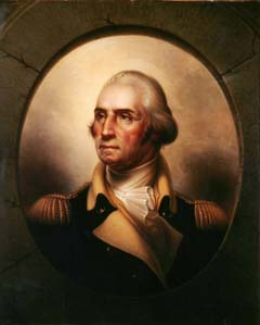 "Rembrandt Peale (1778-1860). George Washington, 1860. Oil on canvas, 35 ½ x 29 ¼ in.). Inscribed verso: Copy from my / Original Portrait of / Washington (1795) / Painted in my 83rd year / expressly for / Mrs. M. M.Phelps, Boston. / by / Rembrandt Peale / Philad. June 1860. Purchased with the funds donated by the Enid and Crosby Kemper Foundation. Rembrandt Peale was a United States Neoclassical Painter. Best-known for his meticulously crafted portraits, Peale was born into a family whose artistic pursuits were nurtured by their famous father– Charles Willson Peale, an esteemed portraitist, soldier, and naturalist. His father's favorite student among several talented children, Rembrandt, at age seventeen, was allowed a sitting with George Washington as a result of his encouraging parent's high praises. In 1823, the artist created an image that he considered the definitive portrait of George Washington, which he referred to as ""The Standard National Likeness."" The Albrecht-Kemper portrait, painted during the artist's 83rd and final year, is among the artist's last efforts to multiply the number of Washington portraits."