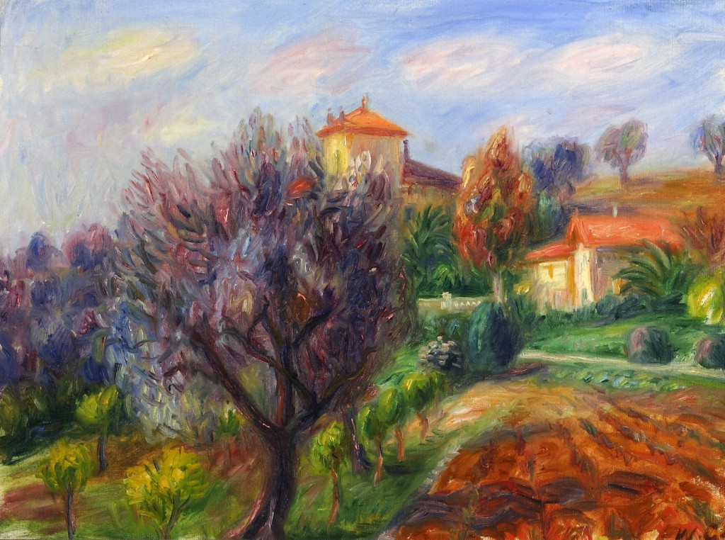 William James Glackens (American, 1870-1938). Hillside with Olive Trees (Rue de Varenne), 1925. Oil on canvas. Gift of Florence and Robert McDonnell. William Glackens was born in Philadelphia and began his career as an illustrator for the Philadelphia Press, while studying under Robert Henri at the Pennsylvania Academy of the Fine Arts. He went to Paris for a year in 1895 and upon his return painted muted landscapes in a Whistlerian manner, a style that soon changed to a stronger one reminiscent of Daumier, early Manet, and Cezanne. In 1898 he moved to Cuba with George Luks, and when he returned, became best known for his colorful scenes of holiday crowds and fashionable life painted in a lively manner. He returned to France in 1906, and visited Spain at the same time. He participated in the 1908 exhibition of The Eight, in which he stood out as the colorist. He worked in New York until 1925, then returned to France, where he remained until 1932. Glackens was influenced by Renoir during and after this time but used muted colors. He was elected to the National Academy in 1933 after winning many prizes in his later years.
