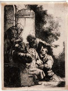 "Rembrandt van Rijn. Jacob Laments the Death of Joseph, 1633. Etching, 4 ½ x 3 1/8 in. (11.4 x 7.9 cm). Signed lower right: Rembrandt van Rijn. Gift of Mr. and Mrs. Henry D. Bradley. Rembrandt Harmenszoon van Rijn was a Dutch painter and etcher. He is generally considered one of the greatest painters and printmakers in European art history and the most important in Dutch history. His contributions to art came in a period that historians call the Dutch Golden Age. Rembrandt is one of art history's greatest interpreters of the Bible. Rembrandt's subject comes from the story of Joseph, the son of the Hebrew patriarch Jacob and Rachel. Jealous of Joseph's privileged status as his father's favorite, his half-brothers stripped him of his coat, threw him into a pit, and sold him to passing merchants, who took him to Egypt. The brothers then smeared Joseph's coat with goat's blood and took it Jacob, who recognized it and lamented, ""It is my son's robe. A wild beast has devoured him; Joseph has been torn into pieces."" In a masterful composition that effectively communicates the essence of the narrative, Rembrandt emphasizes Jacob's agonized reaction to the presentation of the coat. The drama is enhanced by the rich light and dark contrasts, created through variations in the density of etched lines. While strongest in American art, the Albrecht-Kemper collection also contains significant examples of European art, especially prints."