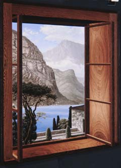 Ken Moylan (b. 1957). Lago di Como (Lake Como) (1995). Masonite, wood veneers, oil paint, and modeling paste, 43 x 31 x 2inches. Purchased with funds donated by the John and Maxine Belger Family Foundation. Born in the small mining town of Eveleth, Minnesota, Ken Moylan began to paint at the age of four. While at the Minneapolis College of Art and Design, he participated in a