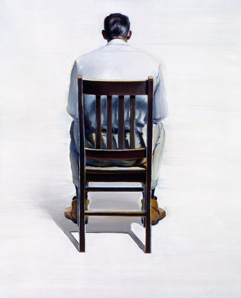 Wayne Thiebaud (American, b. 1920). Man Sitting-Back View, 1964. Oil on canvas. Purchased with funds from The William Toben Memorial Fund and donations from museum friends, Mr. & Mrs. Margaret Marshall and Mr. and Mrs. David H. Morton. Wayne Thiebaud became known in the early 1960s with this straightforward, Pop-art influenced still lifes, and figures. Thiebaud himself cites an influence from the French Realist painters Gustave Courbet and Edward Manet. Thiebaud devised an unusual approach to painting people, depicting them as stationary and seemingly suspended in time. This painting from 1965 is a fine example of his early style where the figure is outlined in beautifully subtle color and the background is a smooth buttery-white. Prior to his first one-person show in New York in 1962, Thiebaud worked as a cartoonist and commercial artist. He continues to live and work in the San Francisco Bay area.