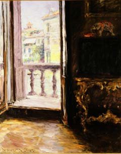 "William Merritt Chase (1849-1916). ""Venetian Balcony"" (1913). Oil on canvas, 35 x 28 inches. Gift of the St. Joseph Art League. William Merritt Chase's Impressionist influences are easy to recognize in this painting. Chase, who spent six years as a student in Munich, had a successful career as both a working artist and as a teacher that included instructing summer courses in Europe. During his final summer abroad in 1913, Chase painted Venetian Balcony. One of his students at this time was St. Joseph native Estelle Manon, who urged the St. Joseph Art League to purchase the work. This acquisition became the first piece in the collection that would become the Albrecht-Kemper Museum of Art."